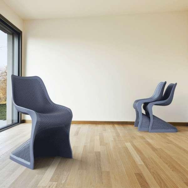 Chaise design en polypropylène gris anthracite ajouré - Bloom - 4