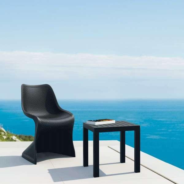 Chaise design ajourée en polypropylène noir - Bloom - 12