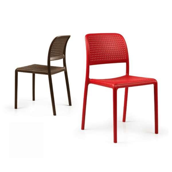 Chaise de jardin en polypropylène rouge ou café - Bora Bistrot - 3