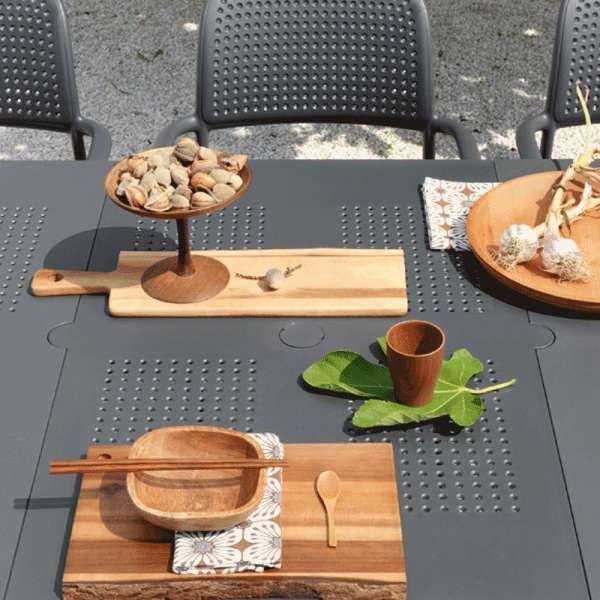Table de jardin avec allonge en plastique anthracite - Levante - 9