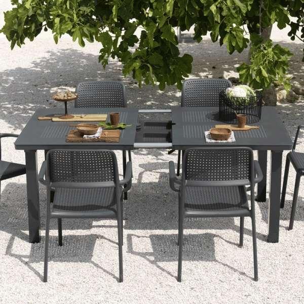 Table de jardin avec allonge en polypropylène anthracite - Levante 2 - 8