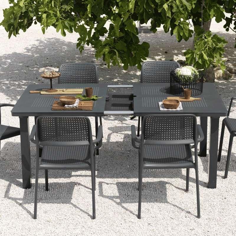 Table de jardin avec allonge en polypropylène et aluminium - Levante ...