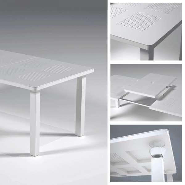 Table de jardin avec allonge en polypropylène blanc - Levante - 6