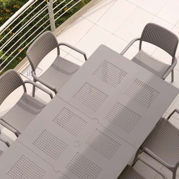 Table de jardin extensible en polypropylène taupe - Levante - 11