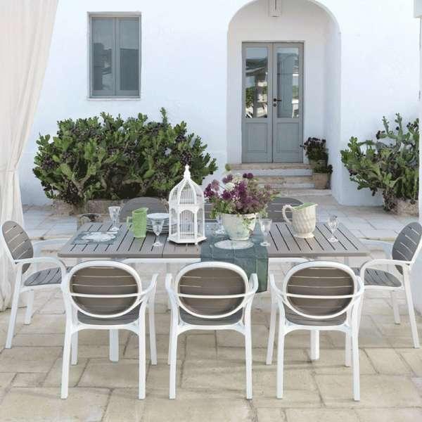 Fauteuil de jardin en polypropylène blanc et taupe - Palma - 11