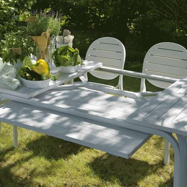 Table de jardin extensible en polypropylène blanc - Alloro - 9