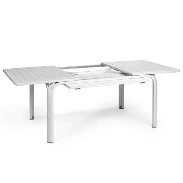 Table de jardin avec allonge en polypropylène blanc - Alloro 140 - 11