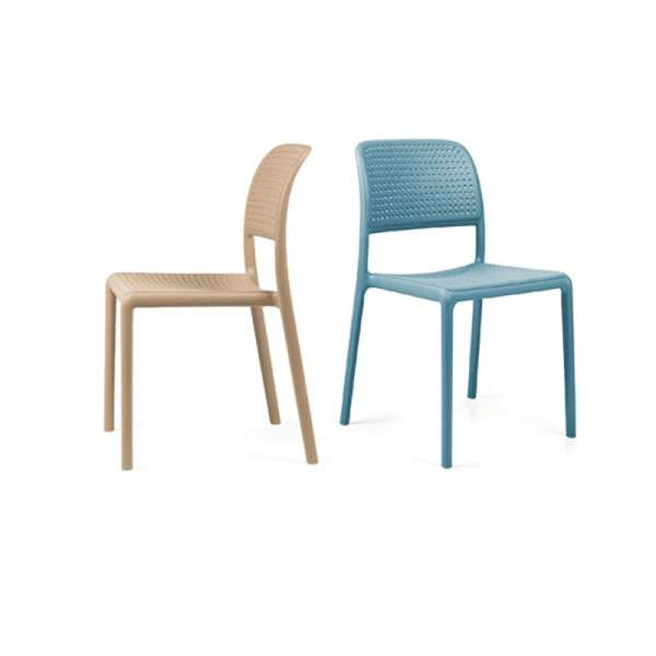 Chaise de jardin en polypropylène sable et bleu - Bora Bistrot - 4