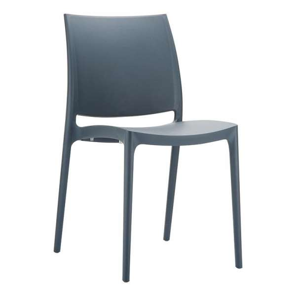 Chaise de jardin en polypropylène anthracite - Maya - 22