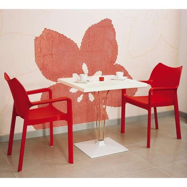 Fauteuil de jardin en polypropylène rouge 2 - Diva - 15