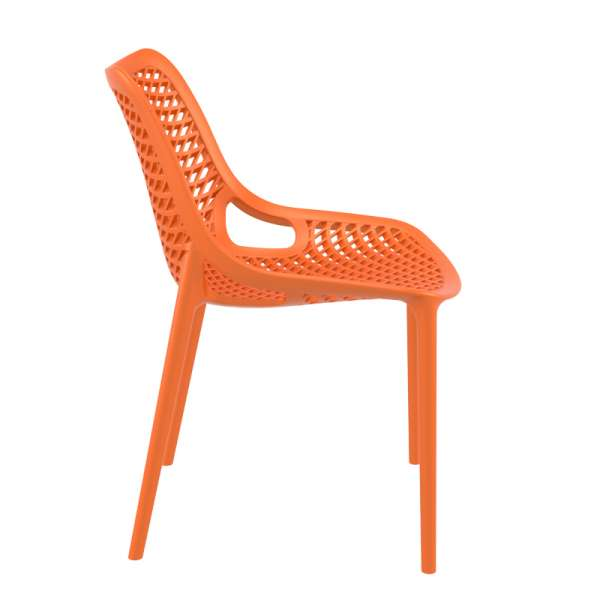 Chaise de jardin moderne ajourée en plastique orange - Air - 29