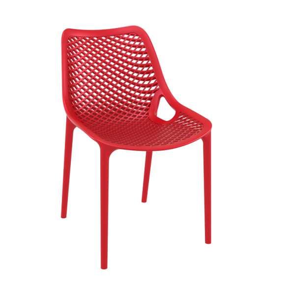 Chaise de jardin moderne ajourée en polypropylène rouge - Air - 18