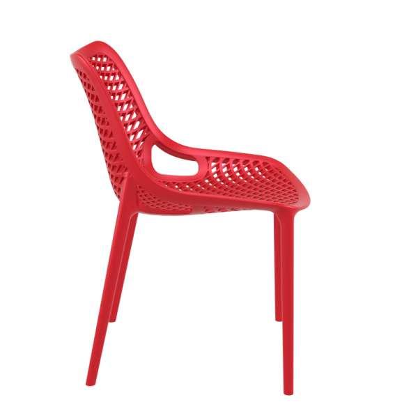 Chaise de jardin moderne ajourée en plastique rouge - Air - 19