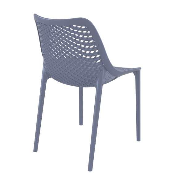 Chaise de jardin moderne ajourée en plastique gris foncé - Air - 25