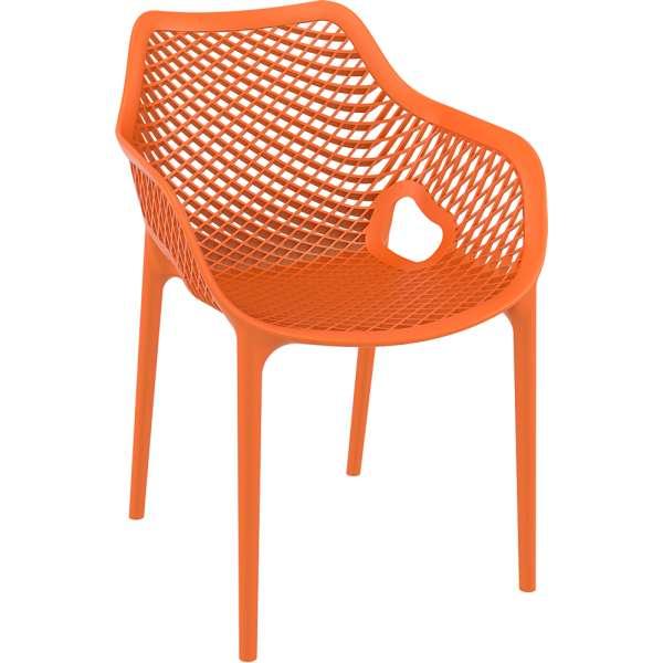 Fauteuil de jardin moderne ajouré en polypropylène orange - Air 12 - 18