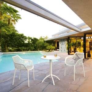 Fauteuil de jardin moderne ajouré en polypropylène blanc - Air