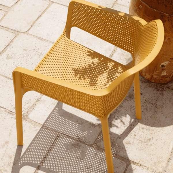 Fauteuil de terrasse moderne en polypropylène moutarde - Net - 9