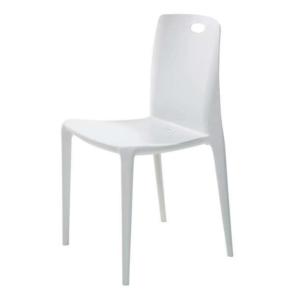 Chaise de terrasse empilable en polypropylène blanc - Zeno - 2