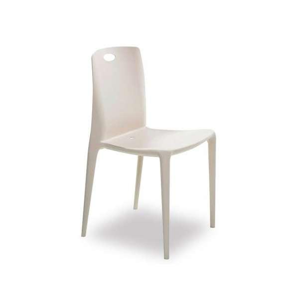 Chaise de terrasse empilable en polypropylène beige - Zeno - 1