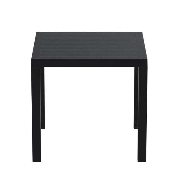 Table de terrasse carrée en plastique noir - Ares - 6