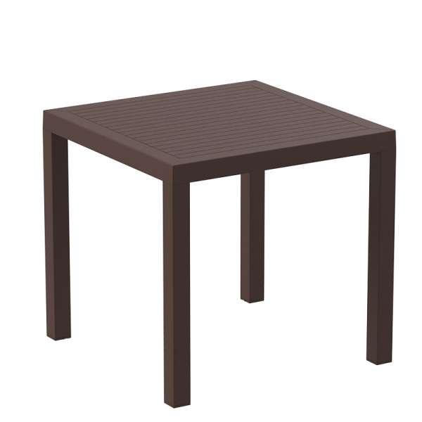 Table de terrasse carrée en plastique marron - Ares - 7