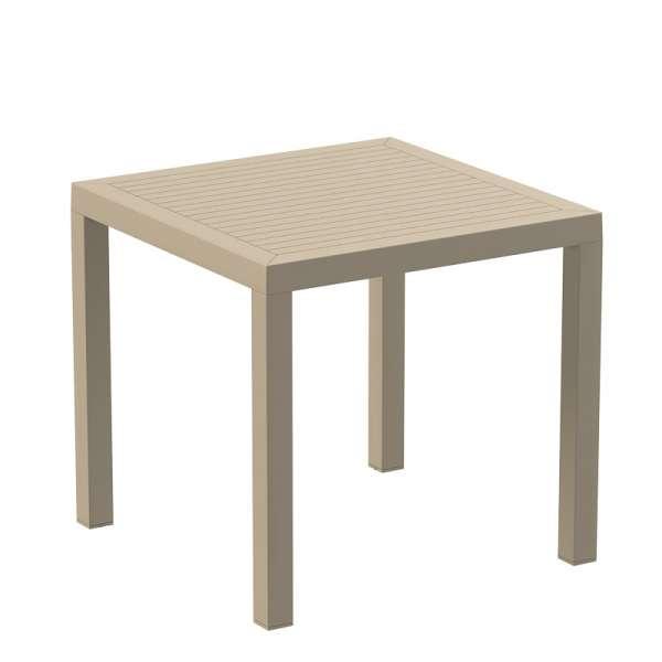 Table de terrasse carrée en polypropylène beige - Ares - 11