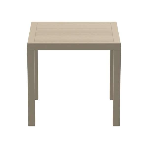 Table de terrasse carrée en plastique beige - Ares - 12