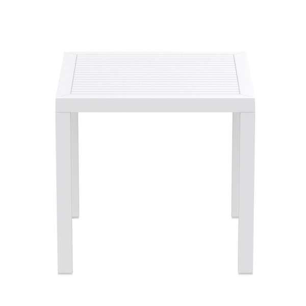 Table de jardin carrée en plastique blanc - Ares - 14