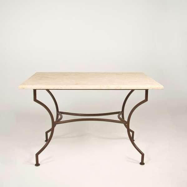 Table de jardin en travertin beige rectangulaire 120 x 80 cm - 1280 - 1