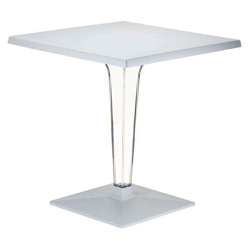 Table de jardin carrée en polycarbonate et stratifié - Ice