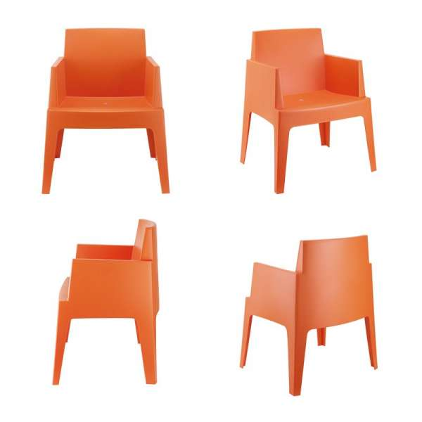 Fauteuil moderne en polypropylène orange - Box - 14