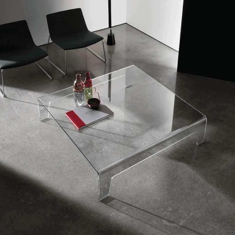 Table basse design carr e en verre frog sovet 4 - Place du verre a eau sur une table ...