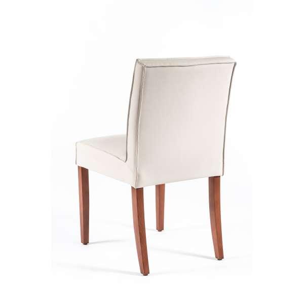 Chaise blanche matelassée en vinyl et bois - Carpe - 2