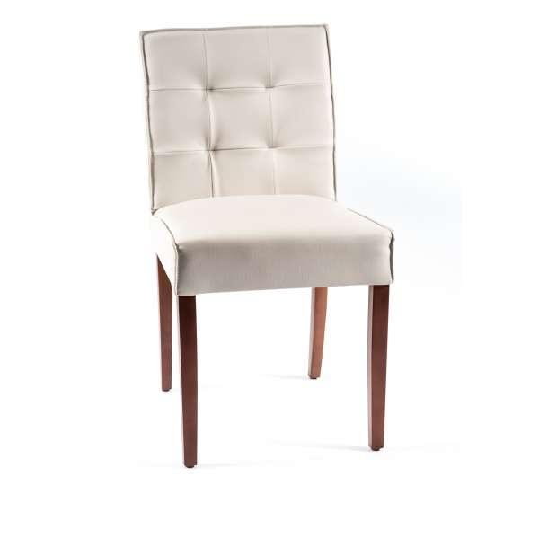 Chaise blanche en vinyl et bois - Carpe - 1