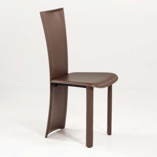 Chaise contemporaine marron en croûte de cuir - Wally - 3