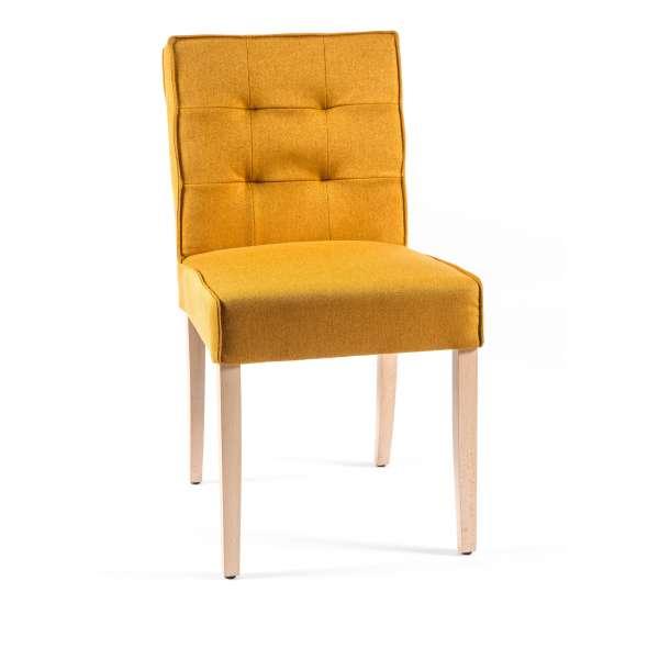 Chaise matelassée en tissu et bois - Carpe - 1