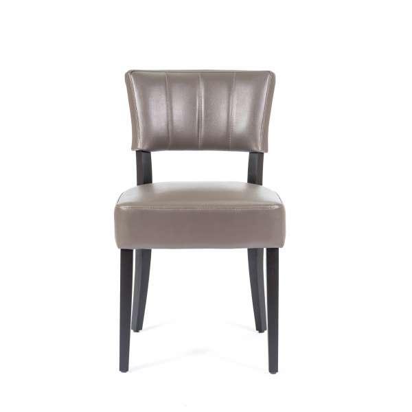 Chaise de salle à manger en vinyle et bois - Steffi - 1
