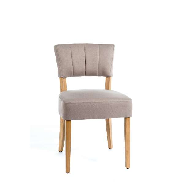 Chaise matelassée en tissu et bois - Steffi - 1