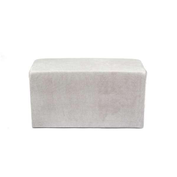 Pouf rectangulaire moderne en tissu gris - Max Q78 - 1