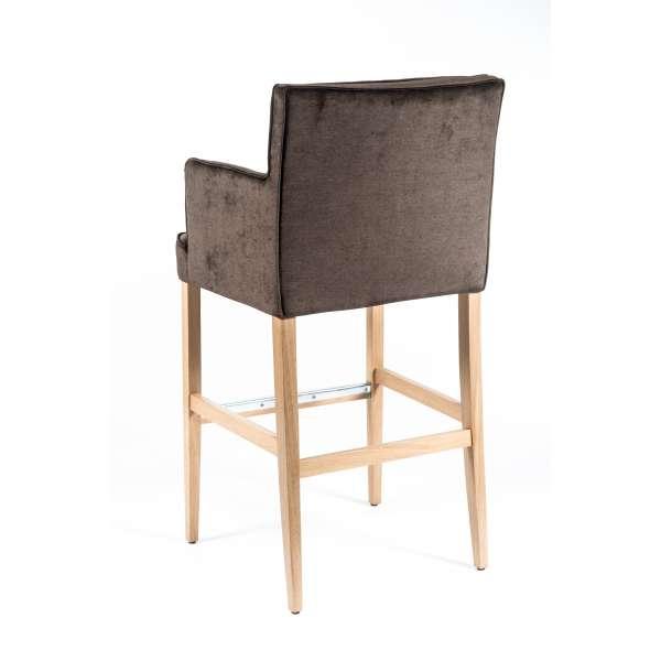 Tabouret bar contemporain en tissu marron et bois - BarDiem - 4