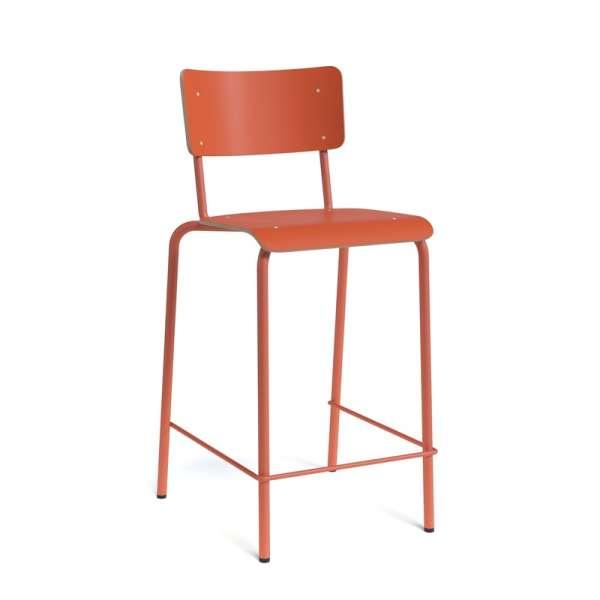 Tabouret vintage en bois et métal orange - Barcollège - 4