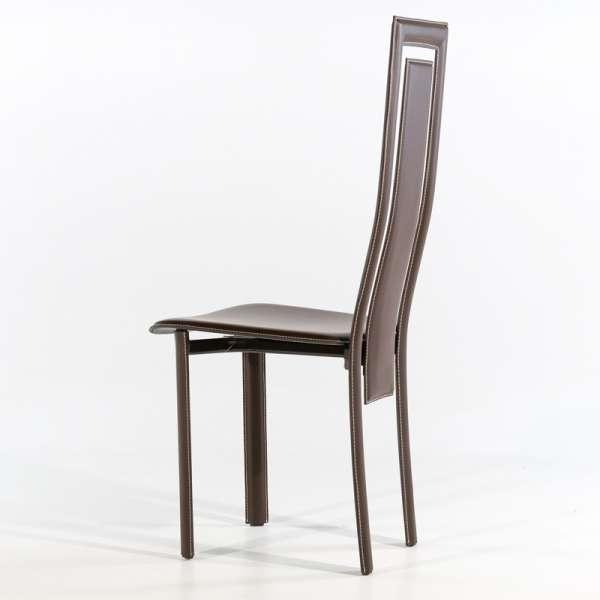 Chaise de salle à manger en croûte de cuir - Betty 2 - 5