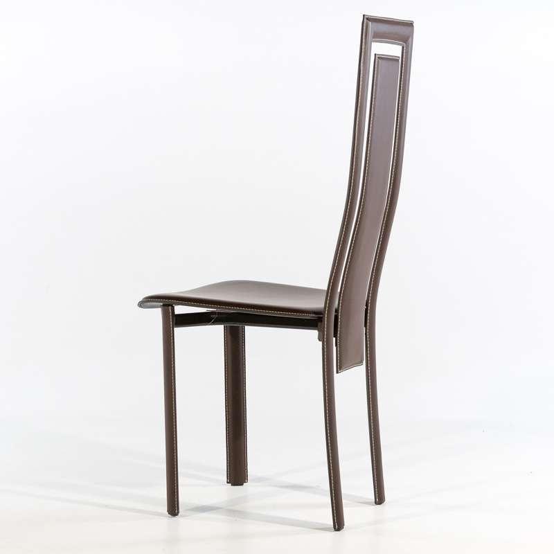 Chaise de salle à manger en croûte de cuir - Betty   4 ...