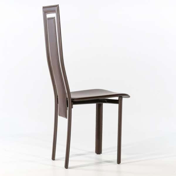 Chaise de salle à manger en croûte de cuir - Betty 3 - 6