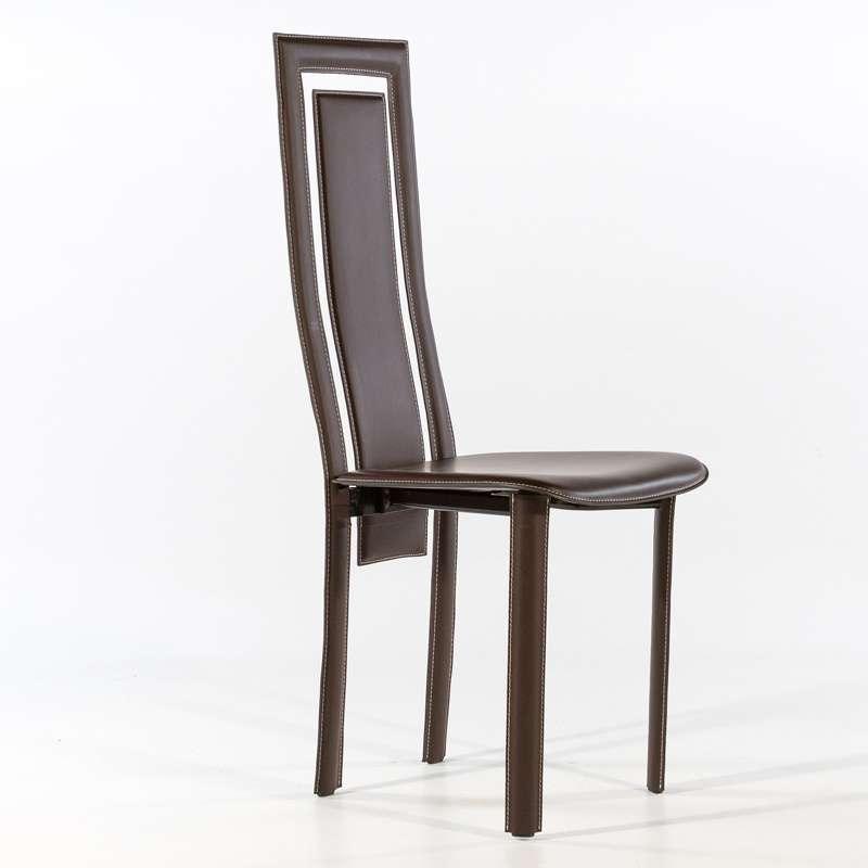 Chaise de salle à manger en croûte de cuir Betty