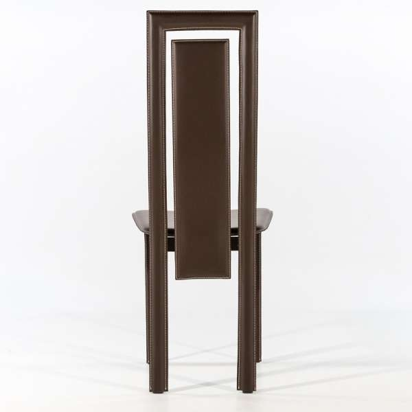 Chaise de salle à manger en croûte de cuir - Betty 6 - 2