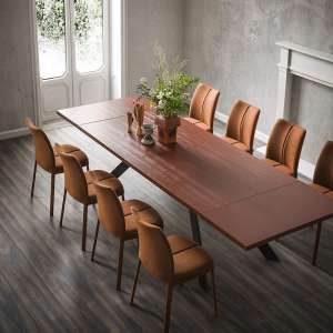 Table de salle à manger stratifié en mélaminé et métal - Zoe