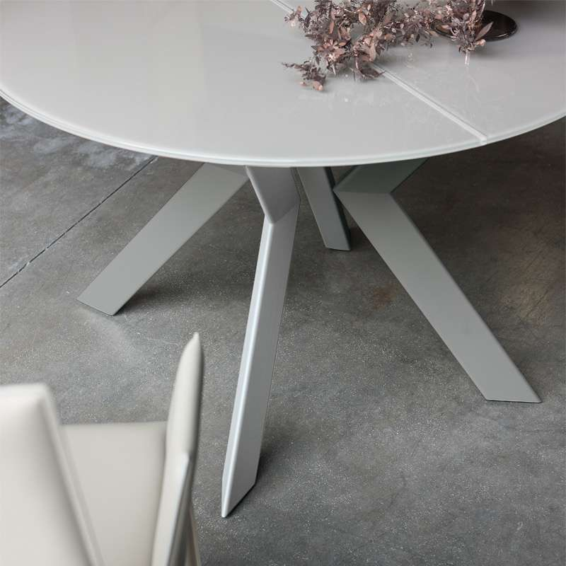 Table Ronde Design Extensible En Verre Extralight Blanc Et Metal