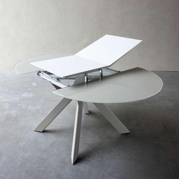 Table ronde design extensible en verre et métal - Zoe rond - 3