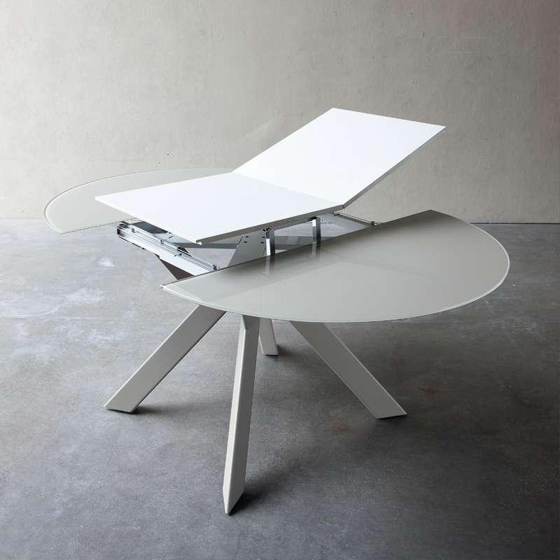 En Ronde Verre Table Blanc Et Métal Extralight Extensible Vale Design Qdtshr